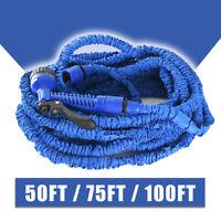 Expandable Flexible Garden Water Hose Pipe 50 / 75 / 100 FT w/ Spray Nozzle Blue