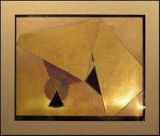 """Sica """"Pyramids In Sun and Shade"""" Signed Numbered Collagraph gold matted metallic"""