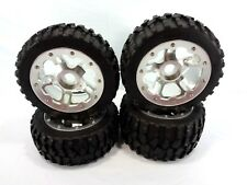 NEW HPI BAJA 5T 5B SILVER ALUMINUM BEADLOCK WHEELS 24mm RIMS  ROVAN GRAVEL TIRES