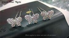 Pelo Mariposa Prendedor Cristal De Aleación De Accesorios De Boda Novia Del Cabello Stick hp-6122