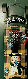 Christmas Door / Wall Hanging Plaid Snowman Sleigh