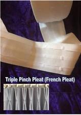 "CURTAIN TAPE Triple pinch Pleat French WHITE 4"" 10cm deep per M metre"