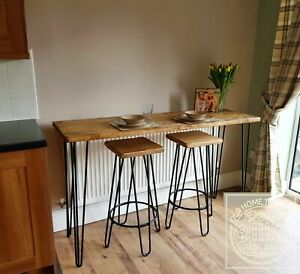 Rustic industrial style breakfast bar table Hairpin legs Solid chunky wood
