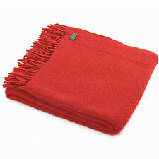 TWEEDMILL TEXTILES 100% New Wool Sofa Bed Blanket Rug WAFER WINTER RED THROW
