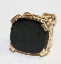 Vintage 9ct Gold Black Onyx Seal Style Fob Pendant