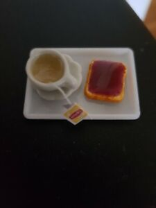Miniature dolls house accessories Breakfast Tray Tea & Toast with Jam 1:12th