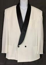 Raffinati White Double Breasted Tuxedo Jacket Black Satin Shawl Lapels Size 42R