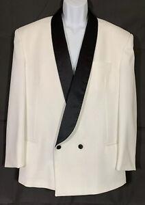 Raffinati White Double Breasted Tuxedo Jacket Black Satin Shawl Lapels Size 43L