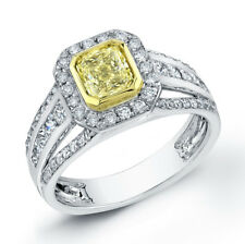 1.91Ct Canary Radiant Cut Diamond Engagement Ring