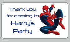 Large Spiderman Personalised Birthday Thank You Party Address Stickers -N16