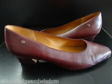 """Womens Burgundy Etienne Aigner Leather Pumps """"MESSINA"""" Size 10 M Low Heel BRAZIL"""