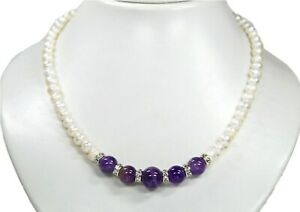 Beautiful Necklace IN Pearls And Gemstones Amethyst