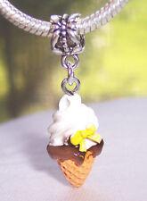 Vanilla Ice Cream Cone Dessert Food Dangle Bead fits European Charm Bracelets
