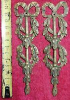 Paire d'Anciens Bronze D'ameublement Art Déco Décor Feuillage Nœuds Collection