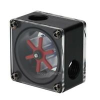 G1/4 Port 3 Ways Impeller Water Flow Meter Indicator for PC Water Cooling Black