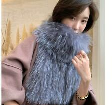 Luxury soft fluffy Silver Fox Fur Knitted Scarf Winter Ladies fashion shawl Wrap