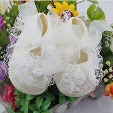 Toddler Baby Girls Crib Shoes Lace Flower Walk Princess Shoes White 0-4 M