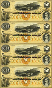 $1,000 Note Mechanics Bank Obsolete Currency Sheet Pittsburgh PA REPRODUCTION