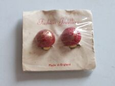 GOLD FINISH BUTTON CLIP-ON EARRINGS RED & GOLD **NEW**