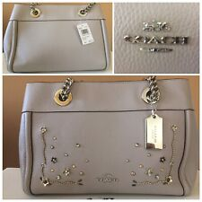 Coach Bag/Purse Carryall Crystal Rivets Chain Birch Grey Leather F49304 $527 NWT