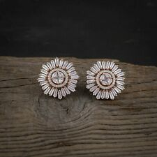 Women CZ Stud Earrings Cubic Zirconia Floral Earring RoseGold Plated Ear Jewelry