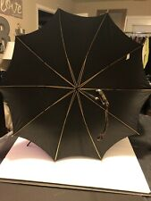 Vintage Black Umbrella W/wooden Handle