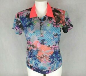 Slazenger Size 16 Polo Tee T Shirt Bright Orange Pink Blue Black Metal Snaps
