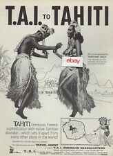TAI FRENCH AIRLINES AIR FRANCE 1960 TO TAHITI FROM HONOLULU DC-7 FLIGHTS AD