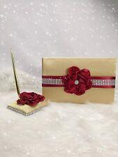 4 in All Linen Cover Wedding Guest Book + Pen Set + Flower Basket + Ring Pillow