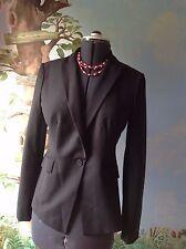 Ann Taylor Petites Long Sleeve Button Front  Black Suit Jacket Blazer size 8