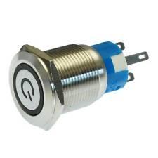 Taster 19mm Edelstahl Metall Weiss Beleuchtet mit Ein/Aus Symbol Drucktaster