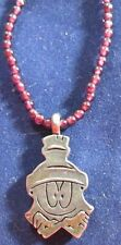 STERLING SILVER 14 INCH CHAIN WITH GARNET BEADS AND A GNOME SMILING FACE PENDANT