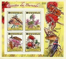 Burundi 2014 MNH Insects & Flowers 4v M/S Beetles Flora Insectes