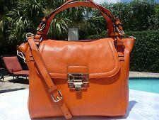 NWT Michael Kors Deneuve Large TZ Leather Satchel Handbag ~$428 TANGERINE
