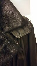 GALLOTTI MENS LEATHER JACKET/COAT / FOX FUR COLLAR / ZIP FRONT MED/LARGE/euro 54