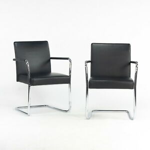 Walter Knoll George Cantilever Stacking Chairs designed by EOOS in Black Leather
