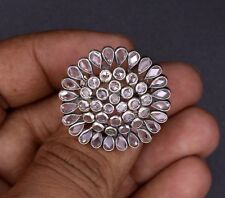 925 STERLING SILVER FABULOUS AD STONE HANDMADE RING ADJUSTABLE SIZE JEWELRY SR32