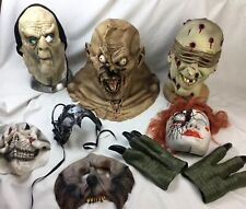 Large Lot Of Gruesome Used Rubber Latex Mask Halloween With Flaws
