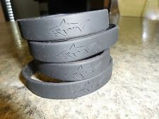 (4) Four New Greg Norman Shark Silicone Rubber Wristband Bracelet Cuff, Black