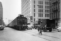 New York Central Photo Steam Locomotive City Street Meat Freight Train   1940