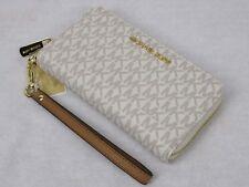 Michael Kors Vanilla PVC Zip Around Phone Case Wallet Wristlet Purse