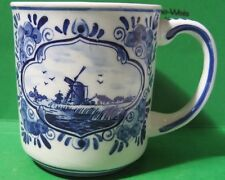 DELFTWARE HANDWERK HOLLAND Blue Porcelain Cup by Elesva Windmills Sail Boat