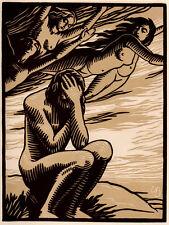 Striking Emile Bracquemond Linocut Engraving, Limited Edition, Paris, 1946