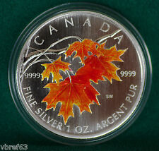 2007 Canada Coloured 99.99% Silver Maple Leaf - Sugar maple - complete