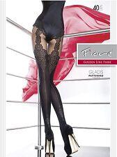 Fiore Gladis Mock Lace Suspender Tights  Back Seam Semi Opaque Tights 40 Denier