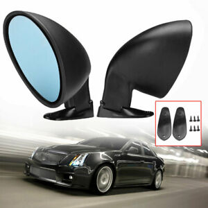 Pair Universal Blue Blind Spot Mirror Wide Angle Rear View Car Side Mirror L+R