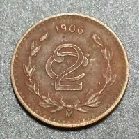 1906 Mexico 2 Centavos Bronze 25 mm World Large Coin
