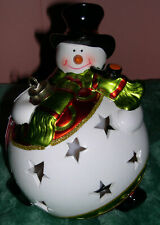 Battery Operated Lighted Ceramic Porcelain Snowman Colorful