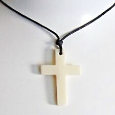 CROSS PENDANT BONE CARVED BLACK CORD NECKLACE CRUZIFIX PROTECTION mens women new