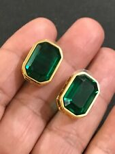 Color Rectangle Gold Plate Pierced Authentic Swan Swarovski Earrings Green